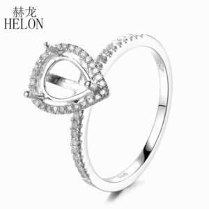 Helon 925 plata esterlina 8x6mm pera-corte Halfshell 100% real Natural Diamond compromiso boda mujeres joyería fina anillo Y19070902