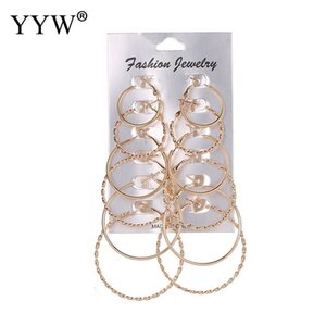 Classci 25mm-50mm Wholesale 6Pairs Lot Hoop Earring Set Gold Silver Color Plated Earrings for Woman Wedding Party Jewelry Gift