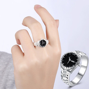Watch shape Rings for Women Cubic Zirconia Black Ring Female Silver Color Fashion Jewelry Decorating Dropshipping 925 stamp