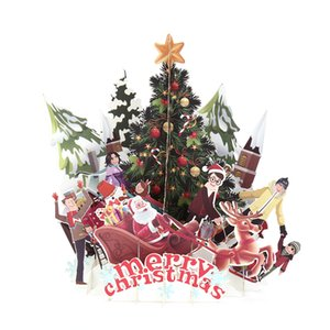 3D up Cards Merry Christmas Origami Paper Laser Cut Postcards Gift Greeting Cards Handmade Blank Colourful Christmas Tree
