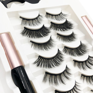Professional Set Mixed 7 styles 7 pairs in one tray magnetic eyelashes with double liquid eyeliner