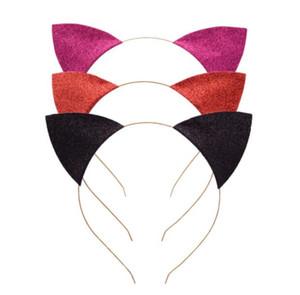 Chat oreilles Bandeau bébé Glitter chat oreilles Piques à cheveux Metal Head Hoop fermoirs vacances de soirée de mariage Décoration Props GGA3346-5