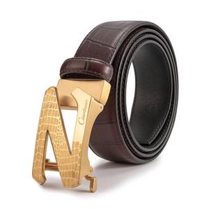 Marka butik Z mektup kemer erkek otomatik toka deri üst katman iş elbise moda çelik toka pantolon kemer