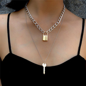 correntes de ouro chave bloqueio colar gargantilhas multicamadas colares de moda moda jóias colar de mulheres amor pendant bloqueio