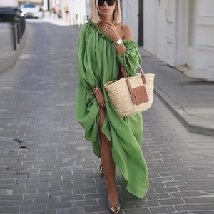 2019 Women Long Dress Fashion Solid Beach Maxi Dress Autumn Long Sleeve Womens Clothing Sexy Strapless Loose Dresses Plus Size