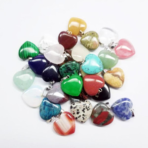 Heart natural Stone Gemstone Pendants Polished Loose Beads Silver Plated Hook Fit Bracelets and Necklace Heart Bead Jewelry GGA3549