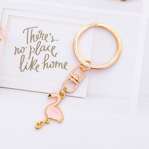 Cartoon Metal Flamingo Keychain for Girls Korean Style Creative Kawaii Keyring Kitty Cat Keychain