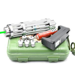 Yüksek Güç Süper Yeşil Lazer Pointer 18650 Pil Ile Fener lazer kalem + Şarj + 5 * Kapaklar + Kutu