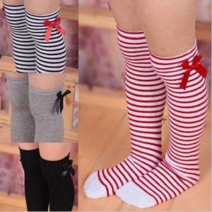 Baby-Strümpfe bowknot Baumwolle Lange Socken Streifen Strümpfe Kinder Herbst Warm Bein-Socken Performance-Socken 6 Farben WY48Q