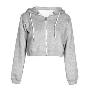 여성 가을 봄 졸라 매는 끈 후드 긴 소매 후드 스웨터는 자르기 캐주얼 재킷 지퍼 코트 착실히 보내다 Y200107 위로 지퍼 탑