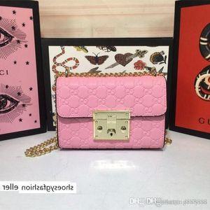 handbags purses Women Shoulder Bags Pad lock Gold Chain Pink Signature Leather Mint Rare 19ss