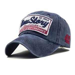 """Gorras de béisbol lavadas de la marea del algodón Haga el sombrero viejo del estilo del paño del remiendo del diseño """"New Stary"""" gorra de béisbol del verano del bordado de la letra Sombrero vendedor caliente"""