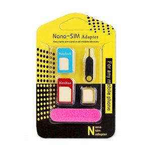 Metal projeto Cell Phone 5in1 Adaptador SIM acessório do telefone móvel por atacado para telefones celulares Nano cartões Micro cartões de cartões padrão