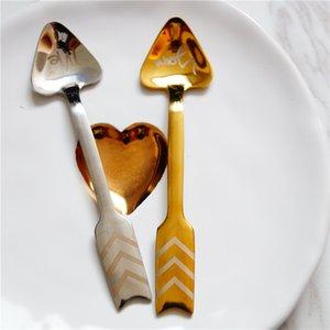 Stainless Steel Cupid Arrow Coffee Spoon Gold Silver Wedding Favor Love Heart Coffee Stirring Scoop 11.5*2.8cm Fruit Flatware kitchenware