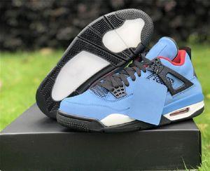 Top Quality Travis Scott 4 Jack Houston Oilers Mens Designer Basketball Shoes Newest IV Collaboration University Blue Black Fashion Sneakers