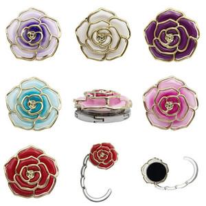 Crochet en métal en forme de Rose sac pliable sac à main crochet Rose crochet de table portable pour sac créatif multiples sac bureau cintre EEA445