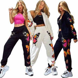 Casual Calças Mulheres Harem Borboleta Moda Imprimir calças de suor Female Bottoms soltas Calças Mulheres Streetwear cintura alta
