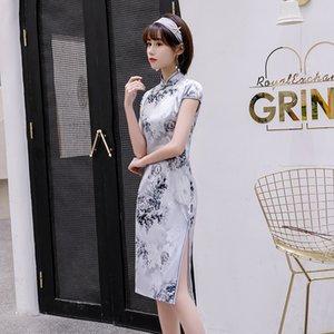 2020 Art und Weise Retro-Stil Chinesische cheogsam beliebte Elemente Quaste Charme Seidenstoff Flora casual dress Druck