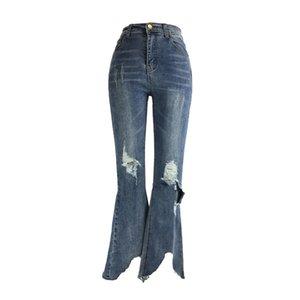 ME&SKI Women Fashion Jeans High Waist Vintage Long Flare Leg Belted Waist Zipper Fly Retro Stretchy Blue Denim Elastic Pants