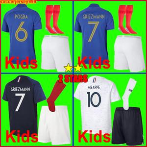 France soccer jersey football shirt Camisa de futebol de frança 2018 world cup 2019 crianças kit meninos equipe 100th aniversário GRIEZMANN POGBA MBAPPE uniformes de camisa de futebol 100 anos