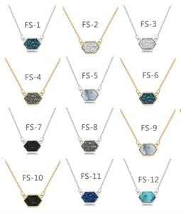 En gros De Mode Femmes Drusy Résine Diamant Pendentif Collier Filles Simple Chaîne De Clavicule Belles Dames Bijoux Collier Cadeau