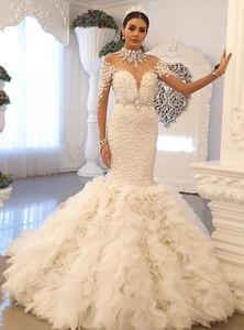 2020 Plus Size Arabic Aso Ebi Luxurious Lace Crystals Wedding Dresses High Neck Backless Bridal Dresses Mermaid Wedding Gowns ZJ245