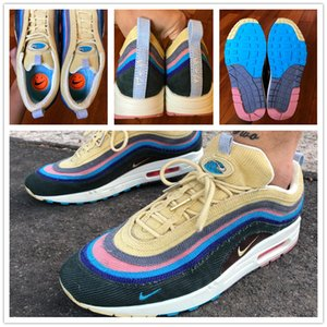 Best SW 97 Sean Wotherspoon Designer Shoes 97s Vivid Sulfur Multi Yellow Blue Hybrid Running Shoes 2019 New Mens Womens Boots Size 36-46
