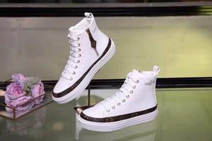 la lastest Luxuryoss20 cuero auténtico zapatillas de deporte de moda los zapatos casuales de alta superior zapatos de las mujeres botas de entrenadores color mezclado