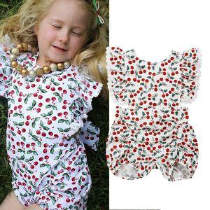 Adorable newborn neonate floreale Cherry pagliaccetto la tuta Outfit Abbigliamento prendisole