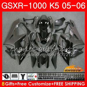 Karosserie + Schwarze, graue, heiße Motorhaube Für SUZUKI GSXR-1000 GSXR 1000 05 06 Karosserie 11HC.14 GSX-R1000 GSXR1000 05 06 K5 GSX R1000 2005 2006 Verkleidungssatz
