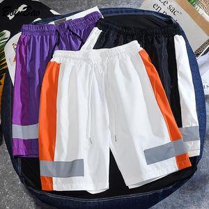 Yaz Yeni Erkekler Rahat Şort Erkek 3 M Yansıtıcı Şerit Trend Şort Moda Düz İpli Kısa Erkek M-3XL
