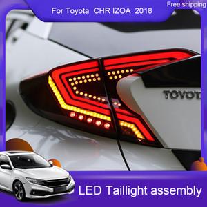 Car Styling LED Tail Light pour Toyota CHR CHR IZOA Assemblée 2018-19 Feu arrière Frein arrière + arrière + Dynamic Turn Signal Lamp