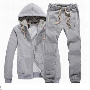New Men Tracksuit Зимняя Hood куртка + брюки Кофты 2 Piece Set Толстовки спортивный костюм спортивный пальто Спортивная одежда