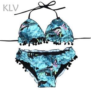 KLV Püskül Topu kadın bikini 2019 bikini set Yüksek Bel Baskı Playsuits kadınlar için Seksi Giysiler Mayo kadın Pembe # @%