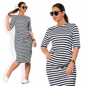 5XL 6XL plus Größen-Frühlings-Herbst Kleid Big Size Kleid Weiß Schwarz gestreifte Kleider plus Größe Frauen Kleidung Gürtel Vestidos