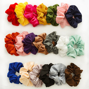 20 cores Solid Sweet Chiffon Scrunchies elástico Ring Hair Ties Rabo de Cavalo Hairbands Moda Chiffon intestino grosso cabelo circular T9I00247