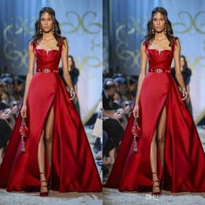 2020 Zuhair Murad rouge robes de soirée formelle Spaghetti A côté ligne Party de Split Prom Robes occasion spéciale Fait sur mesure