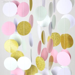 Venta al por mayor-Glitter Gold Mint Pink White Paper Circle Garland Party Decor, Photo Booth Backdrop Garland, Birthday Bridal Baby Shower