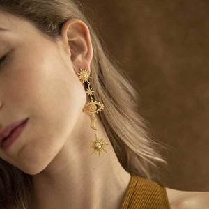Рождественский подарок Леди партия мотаться серьги старинные ювелирные изделия золото Цвет ВС Сглаз Star Шарм Длинные Металл падение серьги для женщин