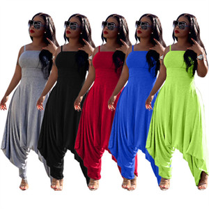Moda mulheres sling jumpsuits cor sólida mangas macacões verão harem calças de um-pedaço bodysuit casual harem calças senhoras roupas