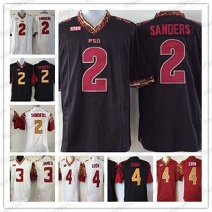 NCAA Mens Florida Estado Seminoles Jerseys 2 Deion Sanders 3 James 4 Dalvin Cozinhar Todos Costurado Colégio Camisas De Futebol Universidade De Alta Escola