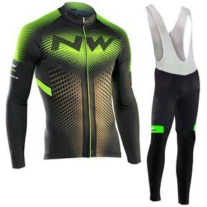SPTGRVO Lairschdan 2019 Grün NW Langarm Radsportbekleidung Frühling / Herbst Kit Mtb Bike Jersey Set Pro Mountainbike Kleidung