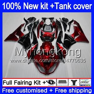 Body + Tank für KAWASAKI ZX636 ZX6R 2009 2010 2011 2012 Top Weinrot 206MY.2 ZX 636 600cc 6 R ZX636 ZX600 ZX 6R ZX6R 09 10 11 12 Fairings