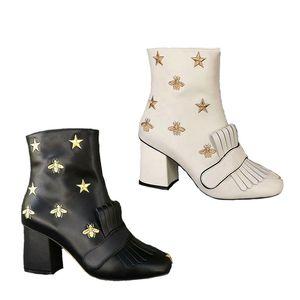 Top qualité Plate-forme en cuir Bottines Marmont Bottes brodé Bee mi-talon Boot Femmes Chaussures d'hiver Solide Couleur frangée Chaussures Big Taille