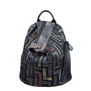 Anti-Diebstahl-echtes Leder Vintage-Rucksack Frauen Retro Chic Patchwork Tag Knapsack Weibliche Naturleder Feminine Pack