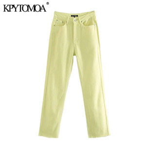 KPYTOMOA Women 2020 Chic Fashion High Waist Straight-Leg Jeans Pants Vintage Buttons Pockets Female Ankle Trousers Mujer