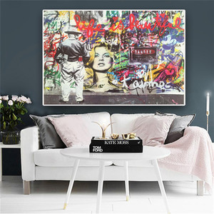 Улица стена граффити абстрактного искусства Бэнкси Home Decor расписанная HD картины Печать холст, масло Wall Art Pictures 200120
