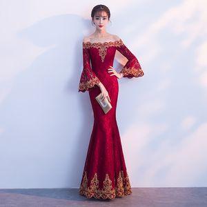 Sexy Elegant Long Cheongsam Burgundy One Shoulder Women Bride Wedding Dress Lace Flare Sleeve Novelty Evening Party Gown