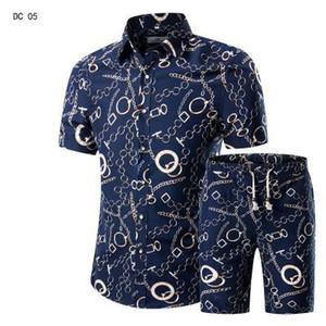 Moda Hombres Casuales Camisas + Pantalones cortos Set Summer Casual Impreso Hawaiian Shirt Homme Short Vestido de impresión Masculino Conjuntos de traje