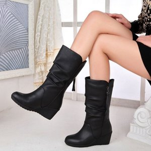 Winter Boots 2019 Women Boots Wedge beautiful Women Shoes Black Fashion Mother Shoes Leather Round Toe Ladies Shoe